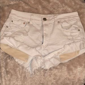 American Eagle White Distressed Shorts